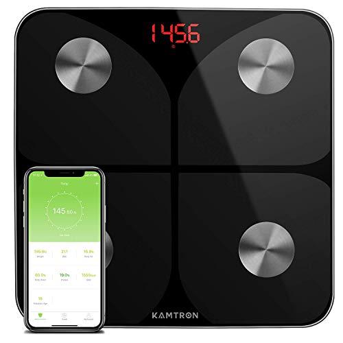KAMTRON Körperfettwaage Digitale Personenwaage Waage Wireless - Ultraschlanke Smart Körperwaage mit APP für Gewicht Körperfett Fitness-Monitor,BMI,Muskelmasse,Wasser,Protein,BMR,Schwarz