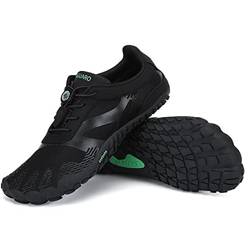 SAGUARO Zapatillas Minimalistas Mujer Zapatillas de Barefoot Hombre Zapatillas de Trail Running Ligera Zapatillas de Deporte Fitness Stil: A Negro Gr.37