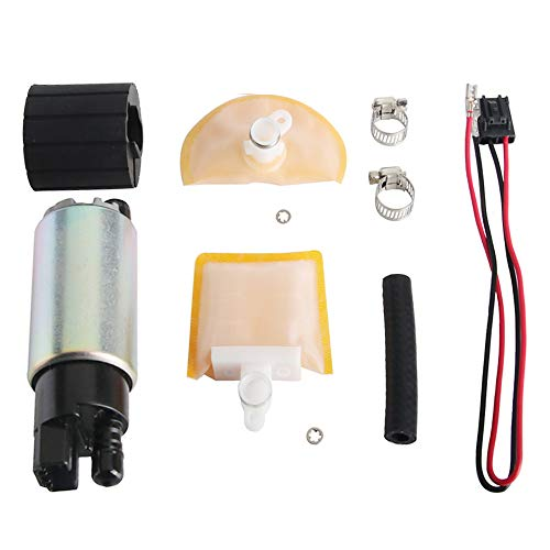MUCO New 255LPH High Flow Intank Electric Fuel Pump with Strainer/Filter + Rubber Gasket/Hose + Stainless Steel Clamps + Universal Connector Wiring Harness MCP-203A