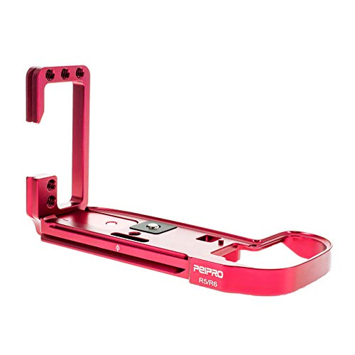 PEIPRO EOS R5 L 型 プレートク L クイックリリースプレート キヤノンEOS R5 R6用 L字型 金属製クイックリリースブラケットプレートハンドグリップ キヤノンEOS-RミラーレスカメラR5R6用赤
