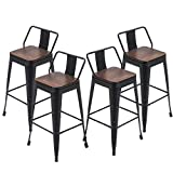 YongQiang Metal Bar Stools Set of 4 Low Back Bar Chairs Counter Height Barstools with Wood Seat 24' Matte Black