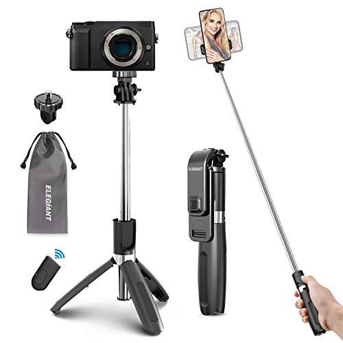 ELEGIANT Palo Selfie Trípode Bluetooth, 4 en 1 Selfie Stick Móvil con Control Remoto,...