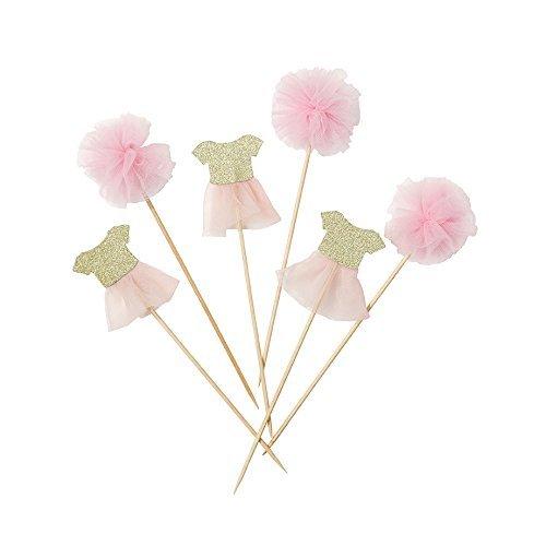 Cupcake Deko / Kuchenstecker / Muffin Deko Ballerina - Mini Tütü's & Mini Pom Poms an...