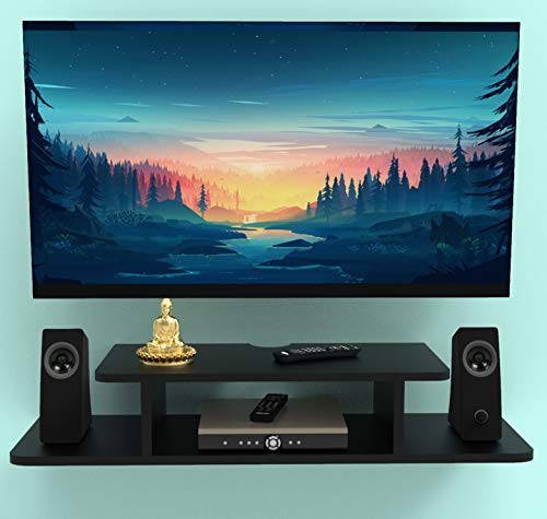 Fabulo MDF TV Entertainment Unit Set Top Box Stand Wall Mounted Shelf Racks for Home Living Room Floating Shelves for Bedroom (Black)