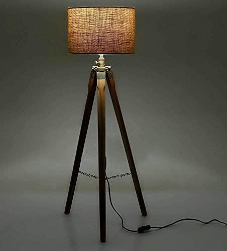 DECORVAIZ Wooden Floor Lamp, Brown, Pack of 1