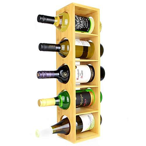 Maison & White Cremagliera del vino di bamb   Supporto a muro per 5 bottiglie   Cabinet in legno preassemblato per scaffali per vino   Design modulare impilabile