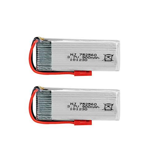 TOOGOO Batteria 2PZ 3.7V 900Mah Lipo per 8807 8807W A6 A6W M68 Rc Drone Quadcopter Batteria 752560 JST2.54 Spina