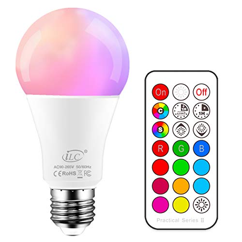 iLC Bombillas Colores RGBW LED Bombilla Regulable Cambio de Color...