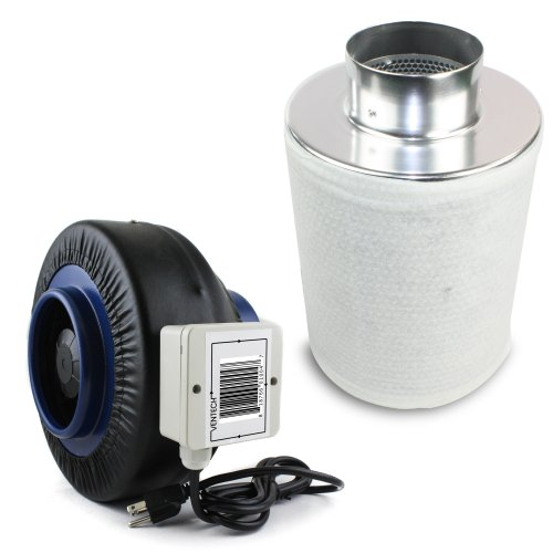 VenTech VT IF4+CF4 IF4CF412 Inline Duct Fan with Virgin Charcoal Carbon Filter Combo, 190 CFM, 4'