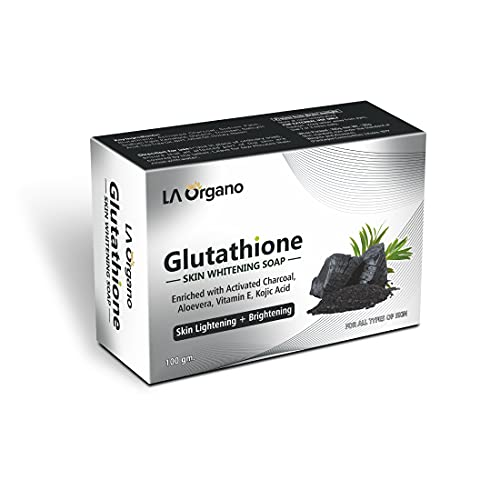 LA Organo Glutathione Activated Charcoal Skin Whitening Soap For All Skin Type (100gm) Pack of 1