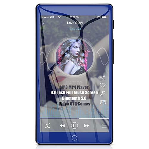 Timoom Lecteur MP3 MP4 Bluetooth 5.0 Haute Résolution 4 Pouces Grand écran Tactile Complet, Baladeur 16Go Musique Audio sans Perte HiFi avec Radio FM Vidéo