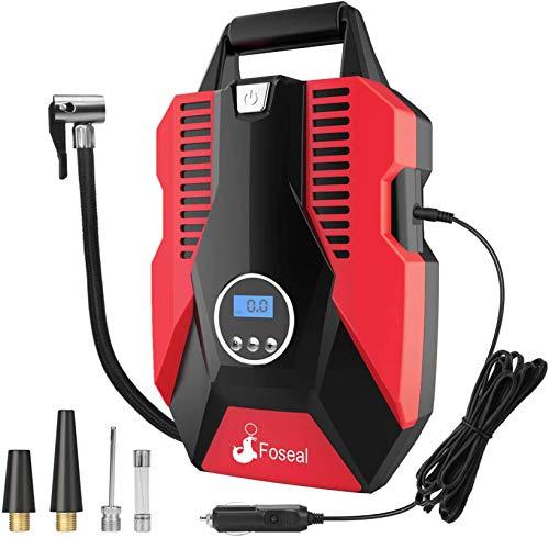 Foseal Auto Kompressor,Tragbare Auto Luftpumpe,Kompressor 12V für Autoreifen, mit 150PSI Digitalanzeige Genaue Druckregelung rot