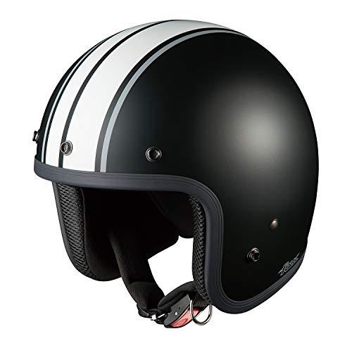 オージーケーカブト(OGK KABUTO)バイクヘルメット ジェット FOLK G1 フラットブラックホワイト (サイズ:57-59cm)
