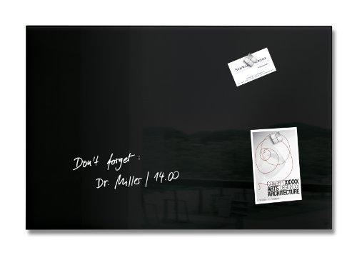 SIGEL GL120 Lavagna magnetica di vetro/bacheca di vetro Artverum, nera, 60 x 40 cm