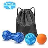 Boules de massage,GVOO 4Pcs Set de 3 balles de massage différentes...