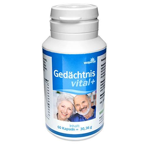 Wellpursan Gedächtnis vital+ 60 Kapseln hochdosiert vegan, Ashwagandha, Zink, Vitamin B12, B5 und B6, zum Steigern der Konzentrationsfähigkeit