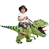 One Casa Inflatable Dinosaur Costume Riding T Rex Air Blow up Funny Fancy Dress Party Halloween Costume for Kids 4-6 Yrs