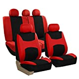 FH Group FB030RED115 full seat cover (Side Airbag Compatible with Split Bench Red)