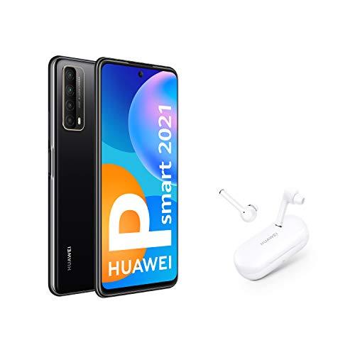 HUAWEI P smart 2021 + FreeBuds 3i - Smartphone con pantalla de 6,67 pulgadas Full HD, 4GB de RAM y 128 GB de ROM, 22.5W HUAWEI SuperCharge, 5000 mAh de batería, Cuádruple cámara con IA de 48 MP, negro