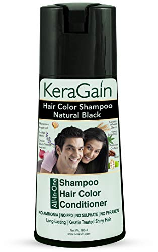 Looks21 Kera Gain Hair Color Shampoo (Natural Black, 180ml) - Professional Hair Color at Home - Ammonia Free PPD Free Sulphate-free Paraben-free - Hair Color