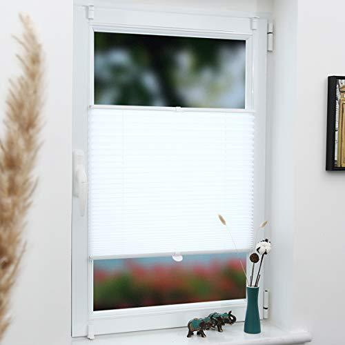 Grandekor Plissee Klemmfix Faltrollo ohne Bohren 40x120cm (BxH) Weiß, Kinderleichte Montage, Jalousie Plisseerollo Sichtschutz und Sonnenschutz für Fenster & Tür