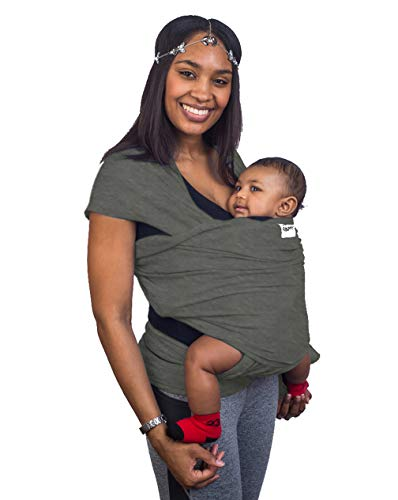 Slate Grey Baby Sling Carrier Wrap by Cozitot | Stretchy All Cloth Baby Carrier | Baby Wrap Sling | Small to Plus Size Baby Sling | Nursing Cover | Best Baby Shower GIF
