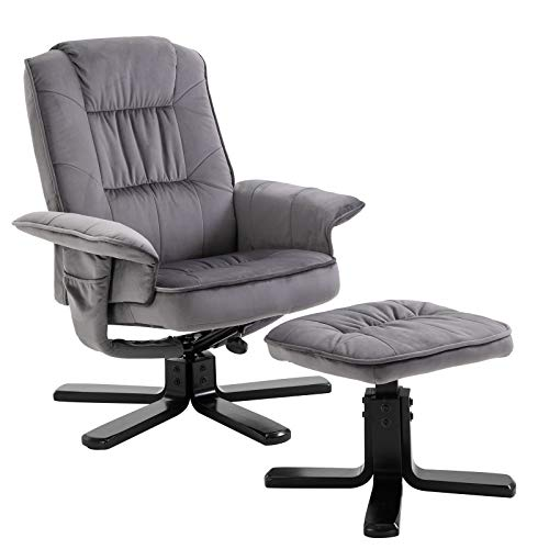 IDIMEX Relaxsessel Charles mit Hocker, Fernsehsessel Liegesessel TV Sessel Relaxstuhl Entspannungssessel, mit Samtstoff in grau