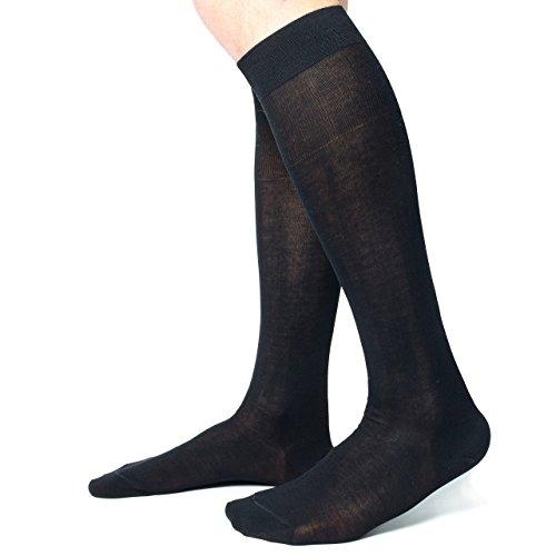 Ciocca Calze uomo lunghe, pregiato cotone 100% FILO SCOZIA - 6 Paia - tre taglie calze (42/43, Nero)