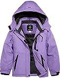 GEMYSE Girl's Waterproof Ski Snow Jacket Fleece Windproof Winter Jacket with Hood (Light Purple,10/12)