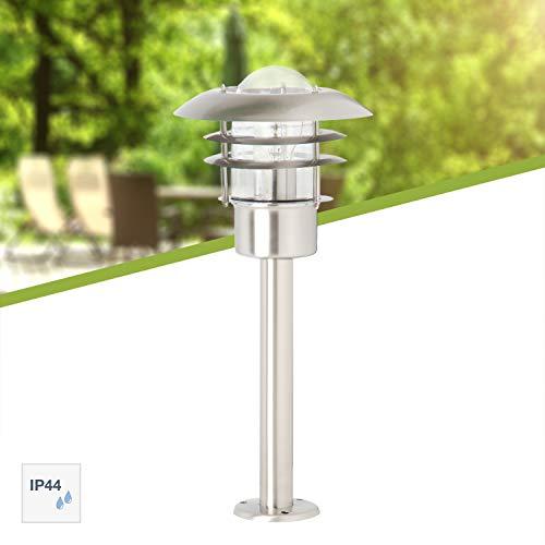 Brilliant 45784/82 Terrence Außensockelleuchte, Höhe 50 cm, 1-flammig, E27, maximal 60 W, LED geeignet, Metall/Glas, IP44, spritzwassergeschützt, edelstahl