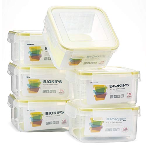 Komax Biokips Square Food Storage Container 37oz. (set of 6) - Airtight, Leakproof With Locking Lids - BPA Free Plastic - Microwave, Freezer and Dishwasher Safe - Compact Size & Stackable