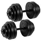 Movit® Kurzhantel 2er Set, Kurzhantelset Gewicht 30kg (2x15kg) Kurzhanteln Stangen gerändelt Hantel mit...