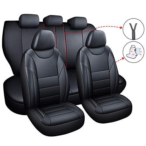chifeng Set di coprisedili per auto, in pelle PU, universale, 5 posti, per Polo T-ROC A3 A4 A6 (nero)