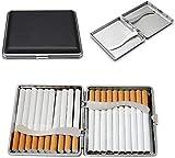 Étui à Cigarettes en Cuir Noir, Cadre en métal pour Cigarette de 20 pièces 84 mm