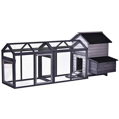 PawHut Large Solid Wood Deluxe Outdoor Chicken Coop with Double Run, Nesting Box, and a Removable Tray for Easy Cleaning