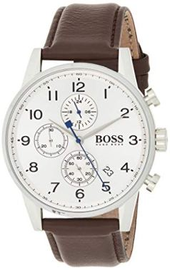 BOSS Navigator, Quartz Stainless Steel and Leather Strap Casual Watch, Brown, Men, 1513495