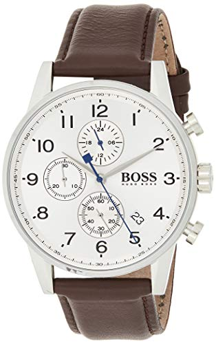 Hugo Boss Herren Chronograph Quarz Armbanduhr mit Lederarmband 1513495