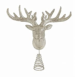 "One Sparkling Christmas Tree Topper Measures 13.5""H Adorned in champagne-colored glitter Features a sparkling deer head tree topper that will beautifully reflect the lights from your Christmas tree The perfect tree topper for your Christmas tree this..."