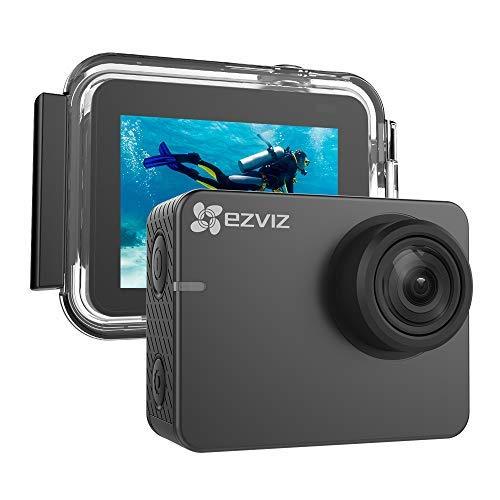 EZVIZ S3 Action Camera 4K Action Cam con custodia impermeabile fino a 40m action camera con LCD di 2' touchscreen 150° grandangolo con la modalità in luce bassa WiFi e Bluetooth integrati