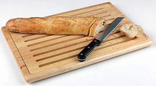 """APS Brotschneidebrett """"Rubber Wood', Schneidebrett, Brotbrett, mit herausnehmbarem Krümelfach, auf 4 Antirutschfüßchen, 60 x 40 cm, 2 cm Höhe, Holz"""