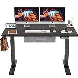 FEZIBO Electric Height Adjustable Standing Desk, 48 x 24 Inches Splice Board, Black Frame/Jet Black Top