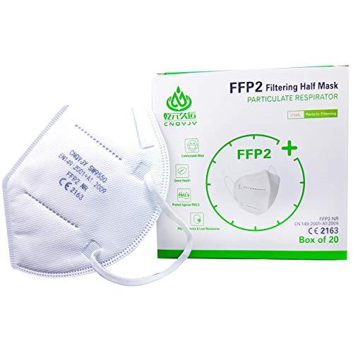 Mascherine Protettive FFP2 certificate CE Italia, mascherine FFP2 con Gommino per Naso, pacchetto da 20 mascherine...