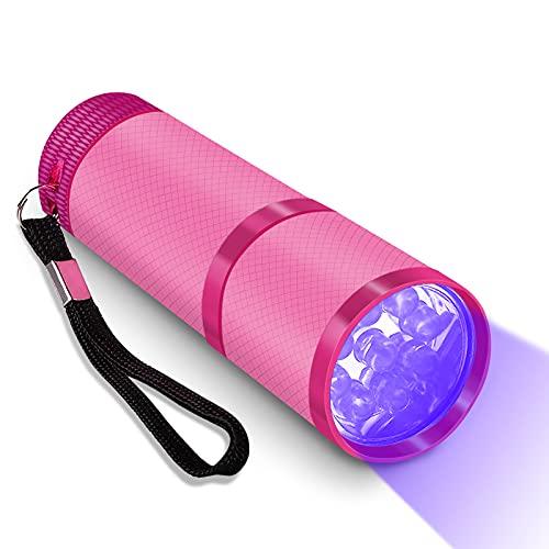 Mini UV Led Nail Lamp for Gel Nails 9 LED Flashlight Portability Nail Dryer Machine Nail Art Tools UV Light (PINK)