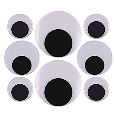 8pcs large wiggle googly eyes to satisfy your needs for office home decorative Package includes: 4 pieces of 50mm wiggle eyes, 2 pieces of 75 mm wiggle eyes, 2 pieces of 100mm wiggle eyes with self adhesive flat back,easy to peel off the sticky paper...