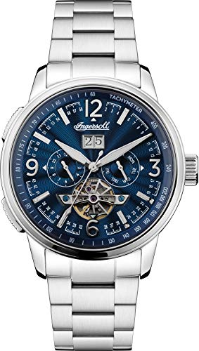 Ingersoll The Regent Mens Automatic Watch I00305 with a Navy Dial and a Silver Stainless Steel Band