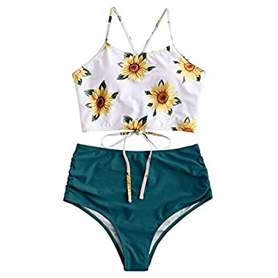Material: Nylon,Polyester,Spandex Our Size: S--US 4, M--US 6, L--US 8,XL--US 10,2XL--US 12. NOTE: Measurements should be taken directly on your body. Halter falbala padded swim top features back tie closure and adjustable crossing lace-up straps High...
