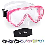 OMGear Diving Mask Snorkeling Gear Kids Adult Snorkel Mask Dive Goggles Silicone Swim Glasses Scuba Free Diving Spearfishing Anti-Leak Anti-Fog Neoprene Strap Cover Impact Resistance(Kid/Pink)