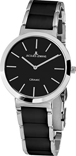 JACQUES LEMANS Damenuhr Milano Metallband/High-Tech-Ceramic massiv Edelstahl 1-1999A
