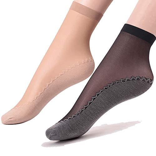 Ueither - 6 paia di gambaletti velati da donna, alla caviglia, con soletta in cotone antiscivolo e...