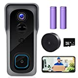 【2021 Upgraded】 ZUMIMALL WiFi Video Doorbell Camera, Wireless Camera Doorbell with Chime, 1080P HD, Motion Detection, Night Vision, 2-Way Audio, Cloud Storage(Optional), 32 GB SD Card Included